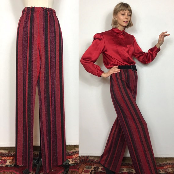 Wide pants, Lurex pants, Large pants, Striped pant