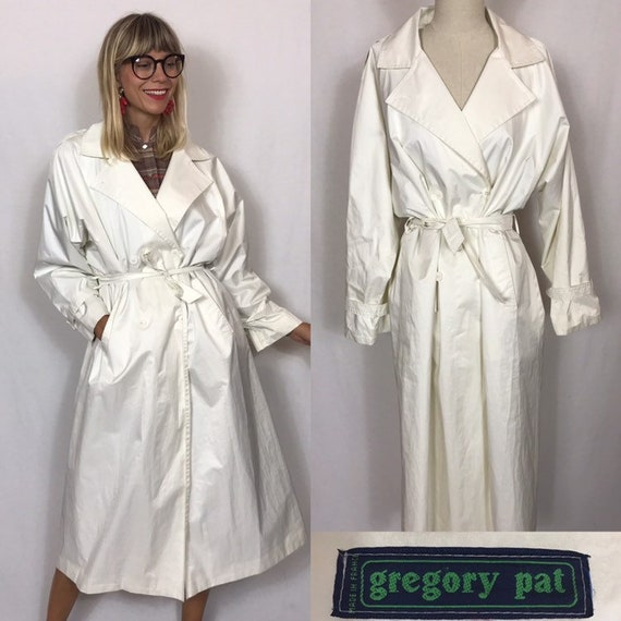 1980's rain trench coat, White trench coat, Vintag