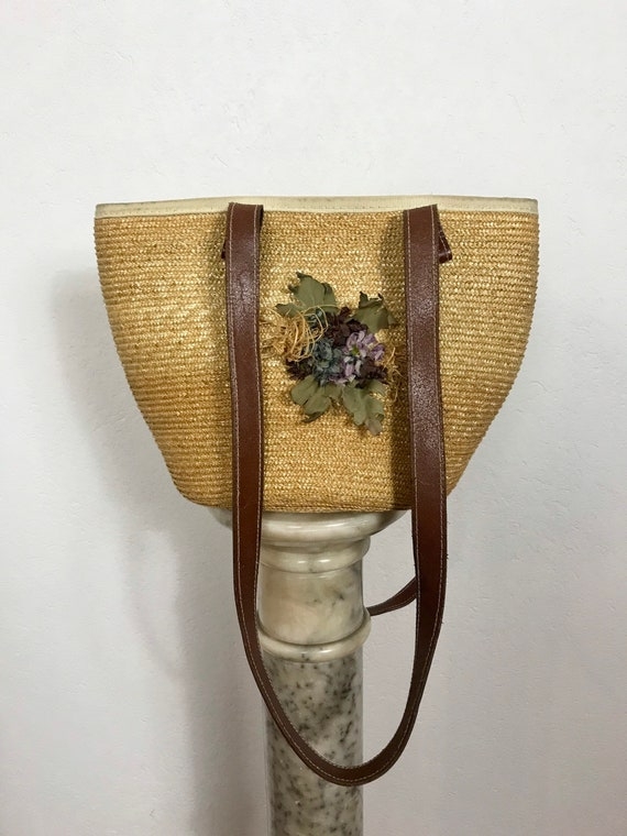 1980s straw bag, Vintage straw bag, Boho bag, Summ