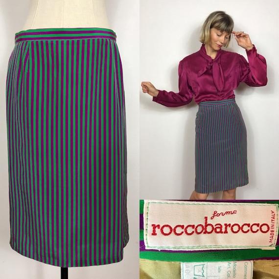 1980's Roccobarocco striped silk skirt, Designer v