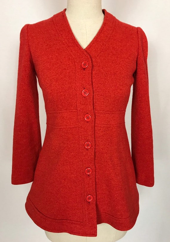 1970's wool suit, Flared pants and jacket, Orange… - image 6