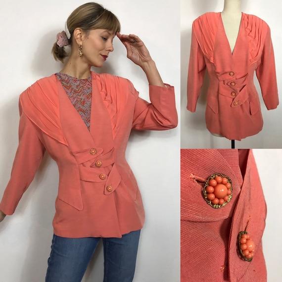 Amazing Italian peach colored 1980's silk blazer,
