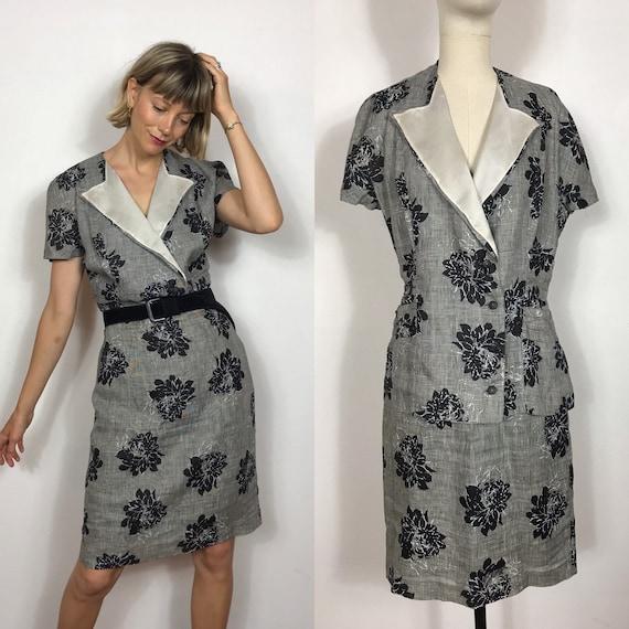 1980's skirt and short sleeved blazer linen suit,
