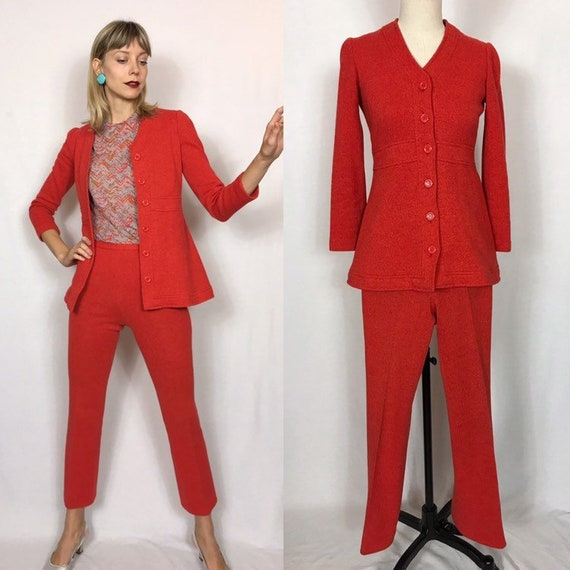 1970's wool suit, Flared pants and jacket, Orange