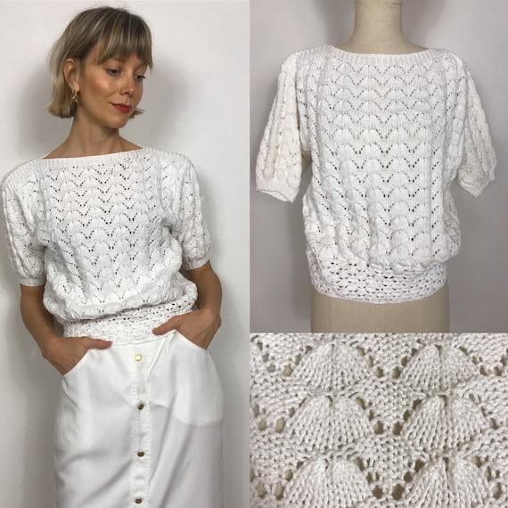 Vintage crochet top, 1980's top, Crochet jumper, S