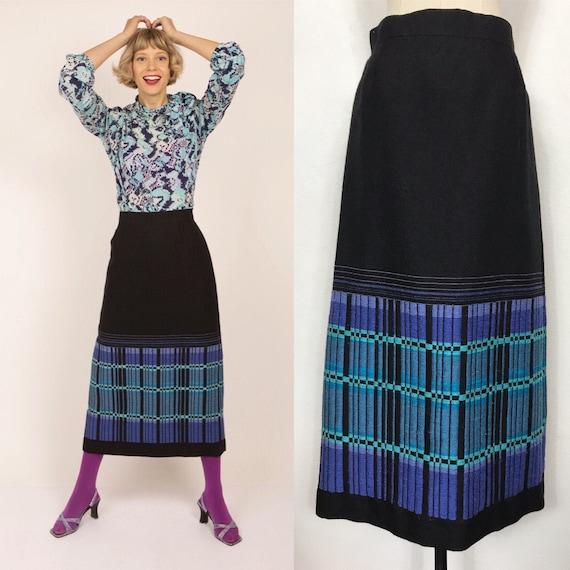 1960's woven skirt, Vintage skirt, Long skirt, Woo