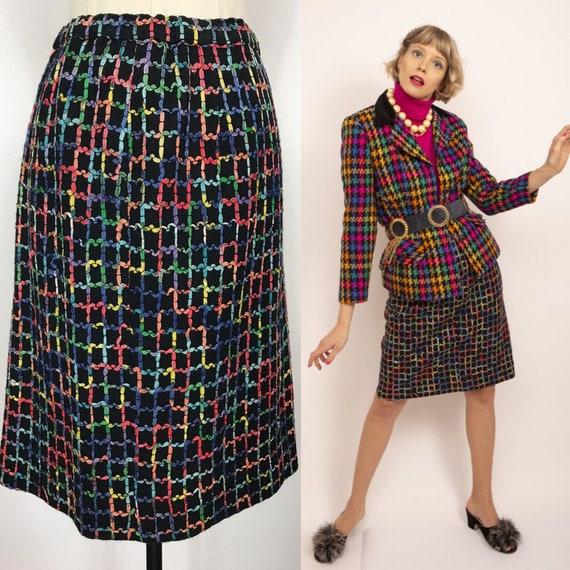 1980's skirt, Checked skirt, Vintage skirt, Wool s
