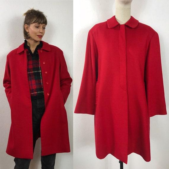 Red vintage wool coat, 1980s coat, Light coat, Red