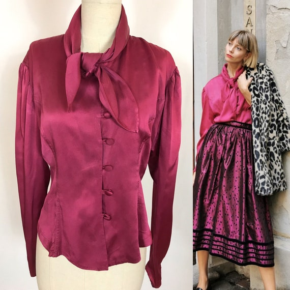 1980's silk Blouse, Bow blouse, Burgundy Red blous