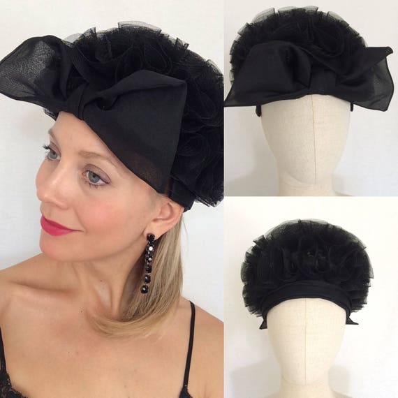 1950 s cocktail hat Black hat with bow Party hat  f4b886e862c
