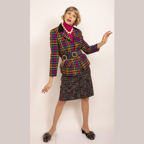 Vintage blazer, Houndstooth blazer, Colorful blaze