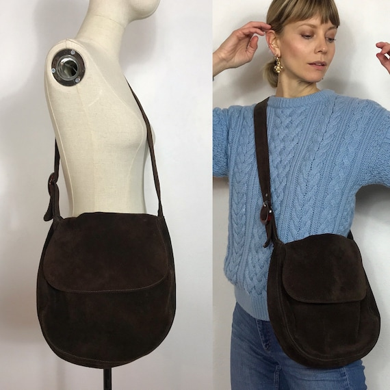 Brown 1970's crossbody suede bag, Vintage bag, Sad
