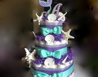 Mermaid Diaper Cake Starfish Shells and Pearls Purple Turquoise and Silver