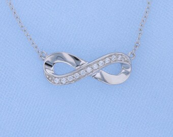 Sterling Silver Infinity Pendant Necklace with CZ