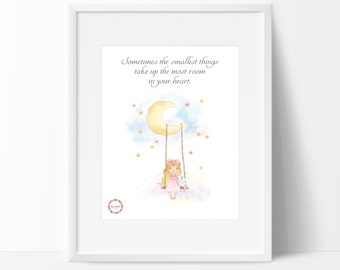 Girl&Bunny on Swing_Sometimes the smallest Wall Print_0065WP