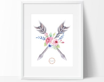 Floral Arrows Wall Print_0020WP