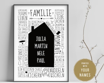 Our little home (GERMAN) // Family poster with name, Personalised, Family, Rules, Typo, Hand lettering, Personal gift, A4 or A3