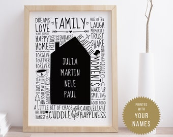 Our little home (ENGLISH) // Family poster with name, Personalised, Family, Rules, House, Typo, Hand lettering, Personal gift, A4 or A3