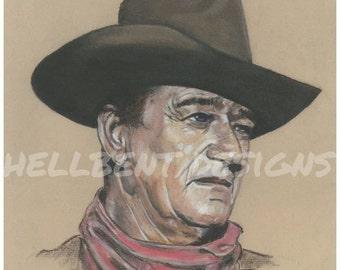 Original Art Print - John Wayne Painting, The Duke, T.A. Schmitt, Artist