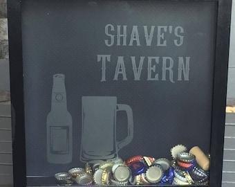 Bar Beer Cap Shadow Box - Beer Bottle & Mug