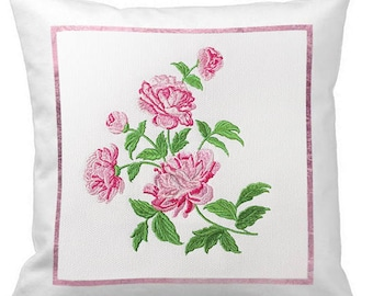 Pink peonies Machine Embroidery Design - 4 sizes