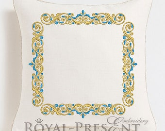 Machine Embroidery Design Gold with a blue - 3 sizes