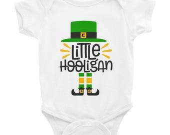 Little Hooligan St Patrick's day Irish Four leaf clover Infant Bodysuit