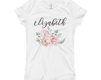 Custom name Boho flowers Girl's T-Shirt