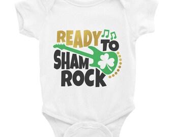 Ready to Sham Rock Four leaf clover St Patrick's Day Irish Infant Bodysuit