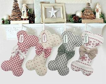 personalized dog bone christmas stocking gingham dog stocking christmas customized christmas stocking pet stocking