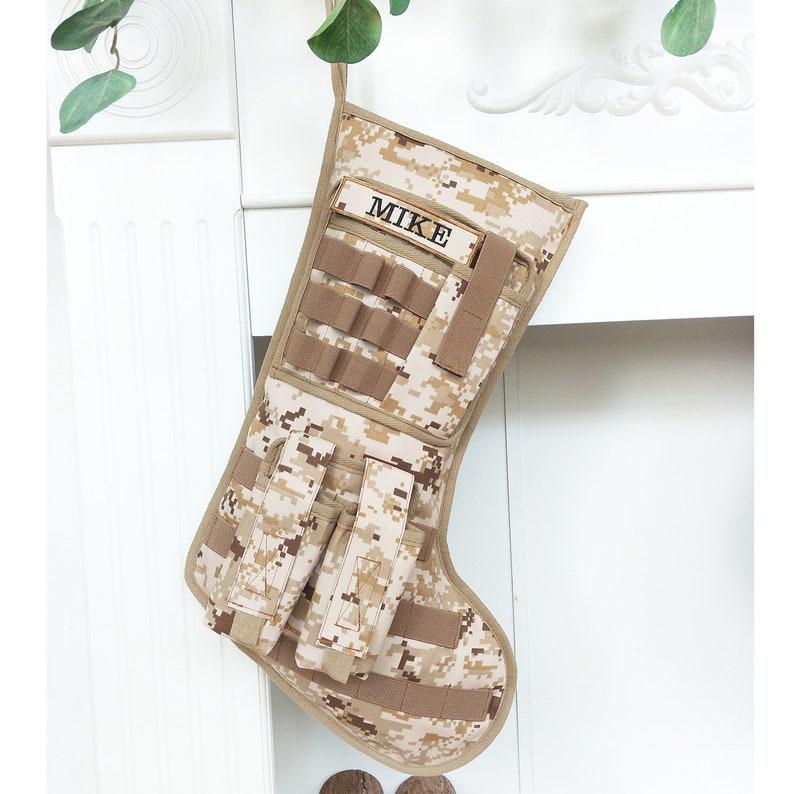 Tactical Christmas Stocking Stuffed.Personalized Tactical Christmas Stocking Military Christmas Stocking Personalized Camouflage Stocking Woodland