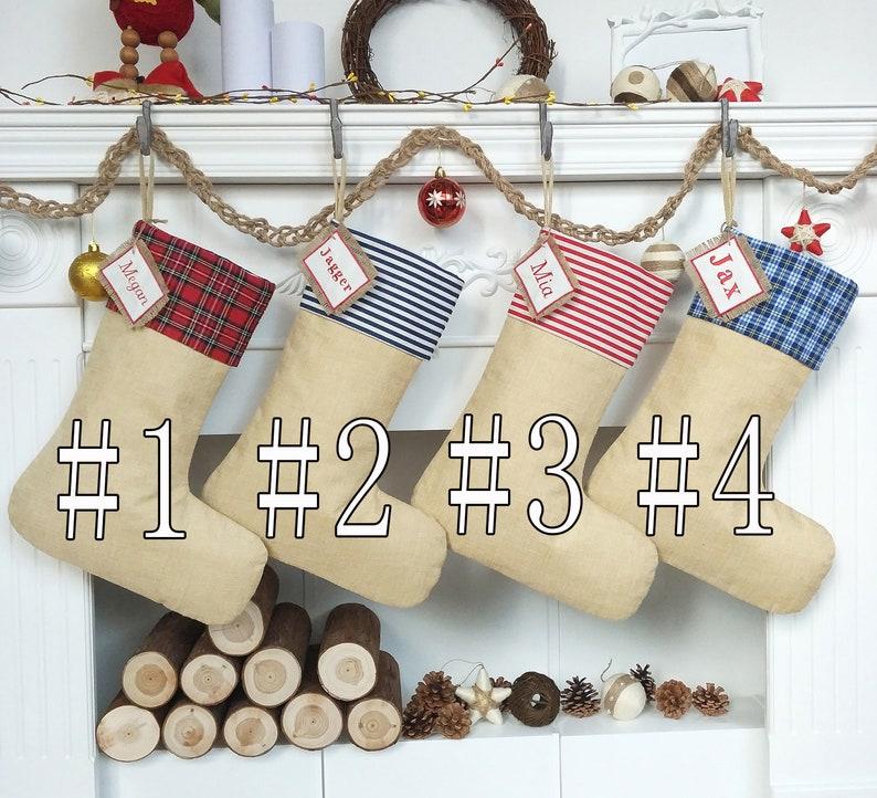 Personalized Christmas Stockings Plaid Stripe Solid Burlap