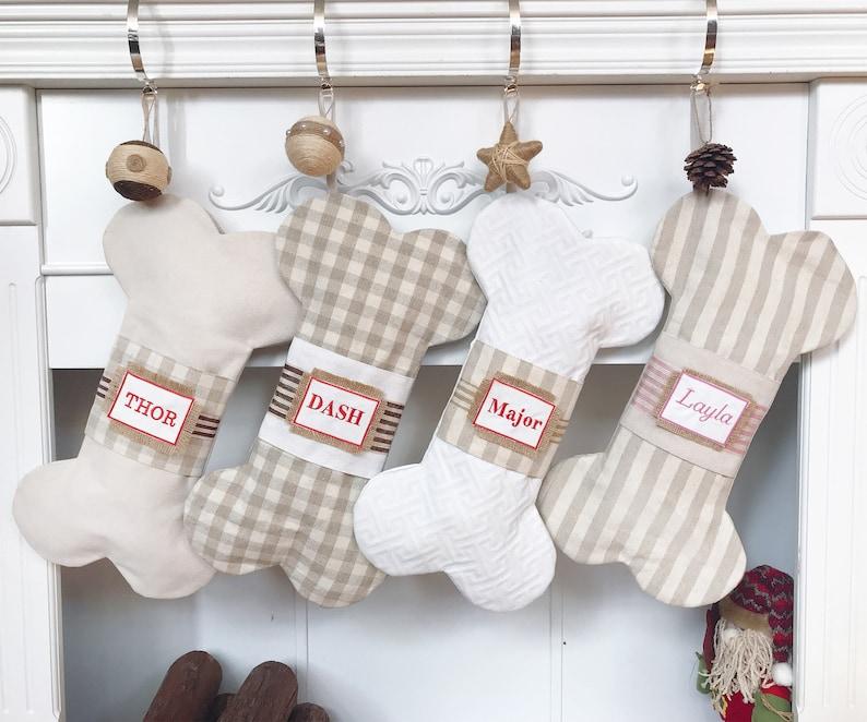 4e6e078dc41 Personalized Dog Bone Christmas Stocking Quilted Plaid Stripe