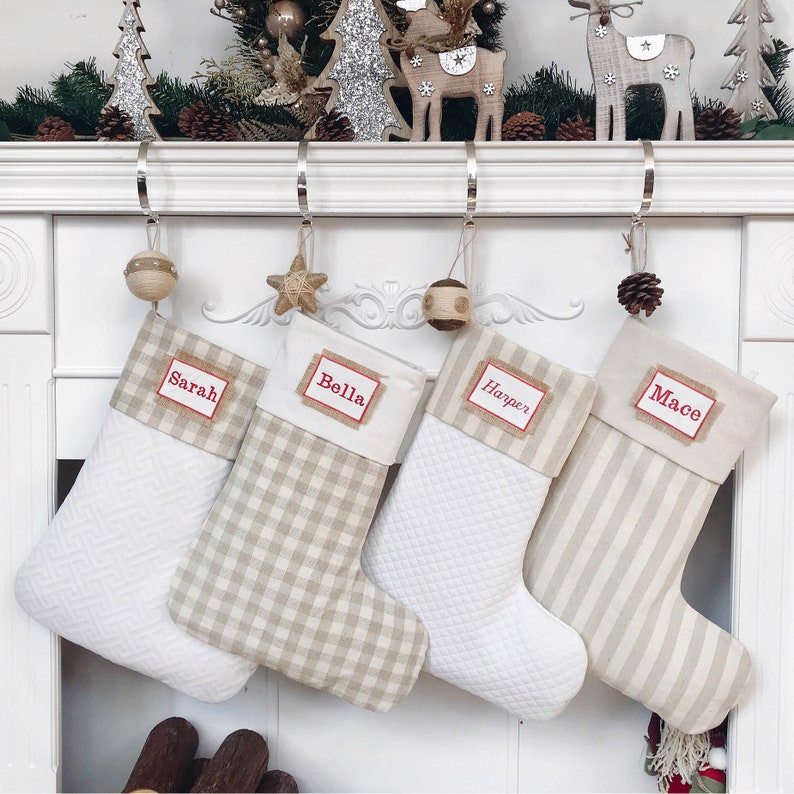 Personalized Christmas Stocking, Quilted/Plaid/Stripe Stocking, Customized  Rustic Christmas Stocking,Farmhouse Christmas