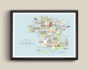 Map of Worcestershire - Art Illustration Print   Decor   Interiors