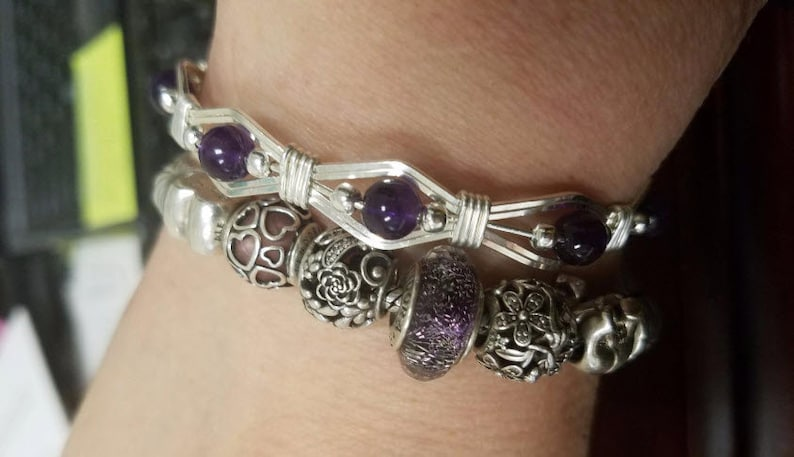 Mom Gift Silver Amethyst bracelet Handcrafted Sterling Silver 6mm Amethyst Semi Precious Stones Beads Bracelet The perfect birthday gift