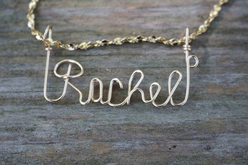 297633207 Rachel Name Necklace Handcrafted Cursive Name in Script Gold | Etsy