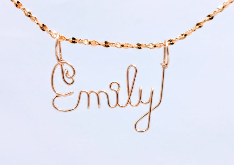 Gold or Silver Handcrafted Cursive Name in Script Emily Name jewelry Personalized Name Your Choice Hailey Name Necklace Mom Gift