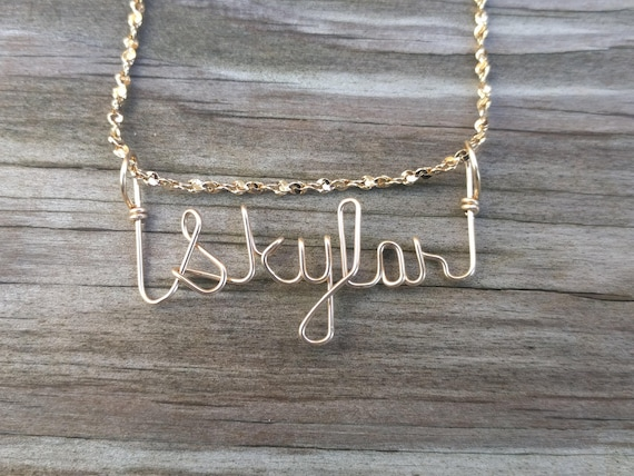 Skylar Name Necklace Handcrafted Cursive Name in Script Gold  58176a261