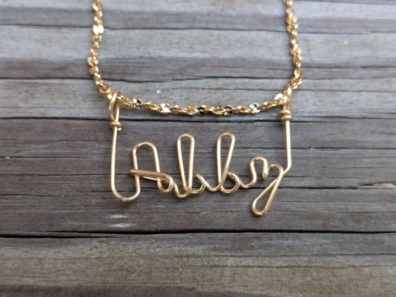45940d47d Abby Name Necklace Handcrafted Cursive Name in Script Gold | Etsy