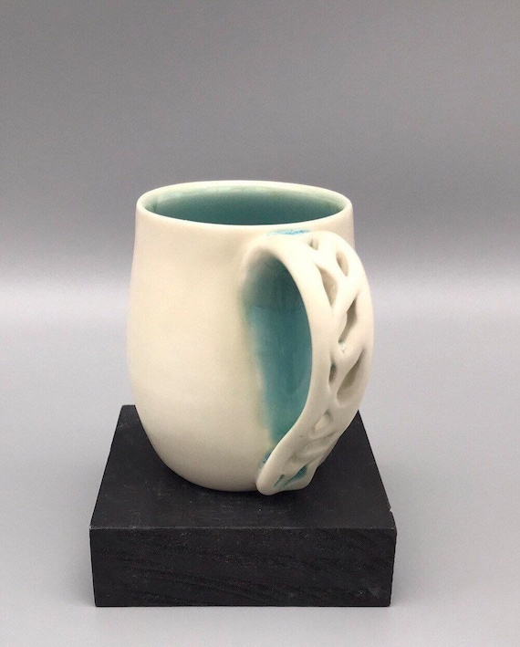 8oz. Hot Coffee Mug, Handmade Tea Cup, White Cup With Pierced Handle, Porcelain Mug, White and Turquoise Cup, Handmade Mug