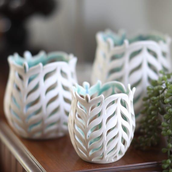"4""to 8"" Orchid Pots, Pierced Porcelain Pots. Candle Luminaries, Handmade Orchid Planters, Pierced Orchid Cache-Pots"