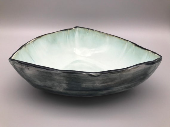 "Large Porcelain 12"" Platter, Soft Turquoise Bowl, Black & Blue Table Centerpiece, Porcelain Salad Bowl, Unique Serving Dish"
