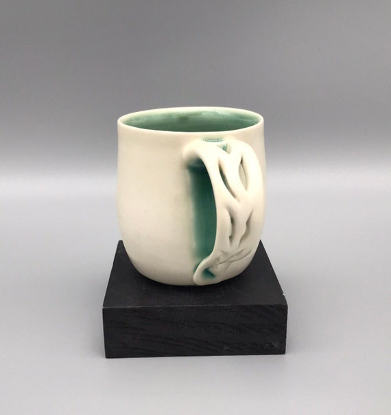 Unique Handle Cups, Blue & White Cups, 8oz Mug, Handmade Porcelain Cup, 8oz. Tea Cups, Hand-carved Porcelain Mugs, Handmade Mugs,