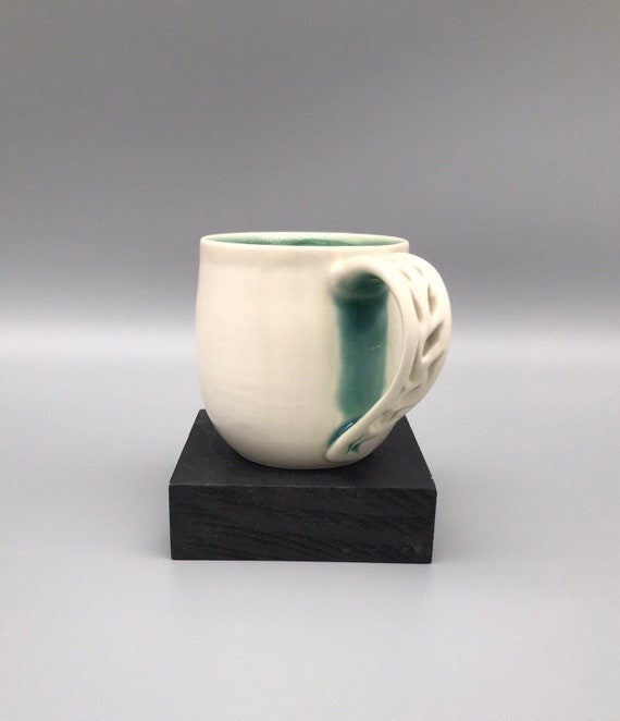 8oz. Matte & Glossy Mug, White Cut Porcelain Cup, Handmade | Turquoise, Pierced Teas Cup, Handmade Valentine's Day Gifts