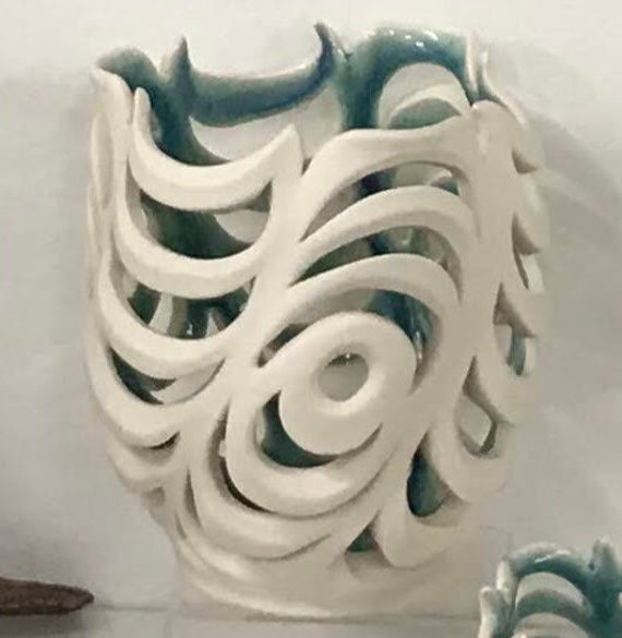 """Porcelain Orchid Pot """"Wavy pierced porcelain"""""""