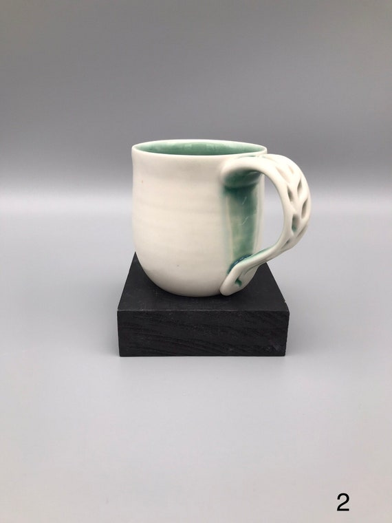 Unique Handle Cup, Blue & White Coffee Cup, 8oz White Mug, Handmade Porcelain Cup, Hand-carved Porcelain Mug,