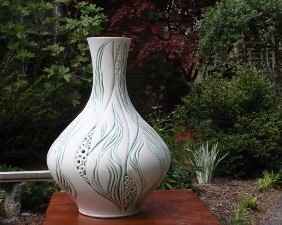 Tall Porcelain Vase | Inlaid Carved Vase | Handmade Ceramic Vase | Pierced Porcelain Vase