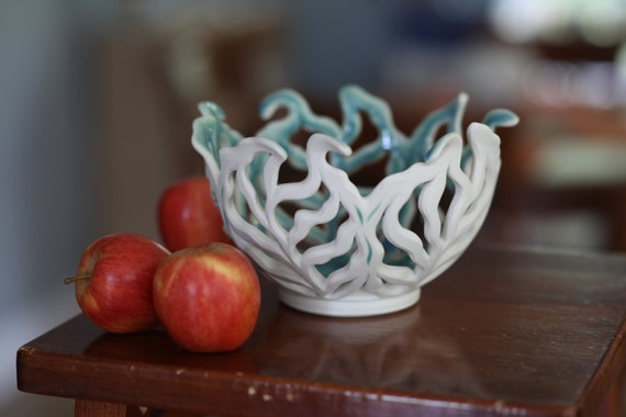 Leafy Bowl | Fruit Bowl | Carved Bowl | Pierced Porcelain Bowl