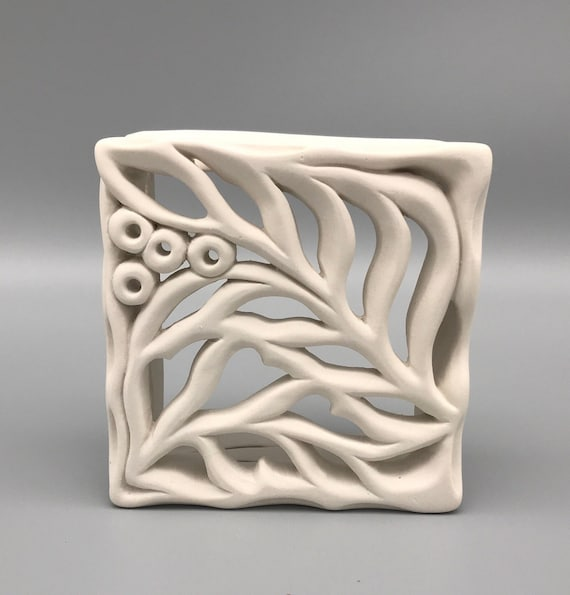"Leafy Porcelain Wall Piece , White Hand-cut Tile, Hand-carved Leafy Porcelain Tile, Sculpted Tile, 5""x5"" White Sculpture"